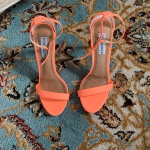 cb24ac90299 Steve Madden Shoes - STEVE MADDEN STECY CORAL NEON ANKLE STRAP HEELS